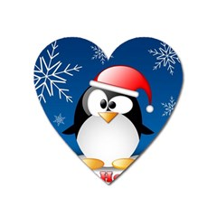 Happy Holidays Christmas Card With Penguin Heart Magnet by Onesevenart