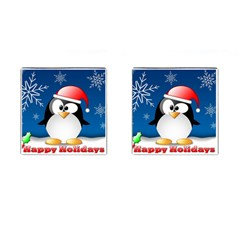 Happy Holidays Christmas Card With Penguin Cufflinks (square) by Onesevenart