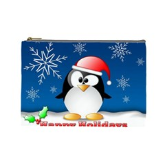 Happy Holidays Christmas Card With Penguin Cosmetic Bag (large)  by Onesevenart