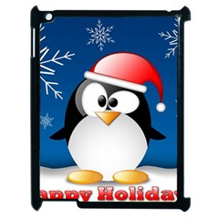 Happy Holidays Christmas Card With Penguin Apple Ipad 2 Case (black) by Onesevenart