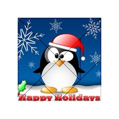Happy Holidays Christmas Card With Penguin Acrylic Tangram Puzzle (4  x 4 ) by Onesevenart