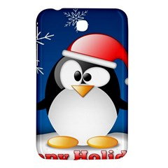 Happy Holidays Christmas Card With Penguin Samsung Galaxy Tab 3 (7 ) P3200 Hardshell Case  by Onesevenart