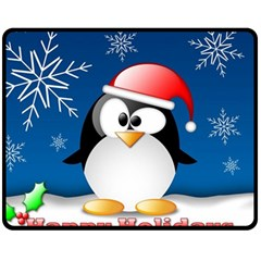 Happy Holidays Christmas Card With Penguin Double Sided Fleece Blanket (medium)  by Onesevenart
