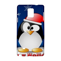 Happy Holidays Christmas Card With Penguin Samsung Galaxy Note 4 Hardshell Case by Onesevenart