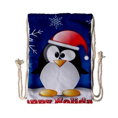 Happy Holidays Christmas Card With Penguin Drawstring Bag (small) by Onesevenart