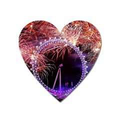 Happy New Year Clock Time Fireworks Pictures Heart Magnet by Onesevenart