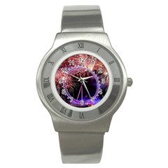 Happy New Year Clock Time Fireworks Pictures Stainless Steel Watch by Onesevenart