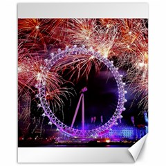 Happy New Year Clock Time Fireworks Pictures Canvas 16  X 20   by Onesevenart