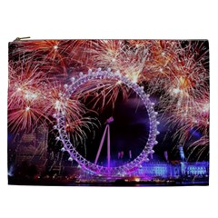 Happy New Year Clock Time Fireworks Pictures Cosmetic Bag (xxl)  by Onesevenart