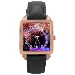 Happy New Year Clock Time Fireworks Pictures Rose Gold Leather Watch  by Onesevenart