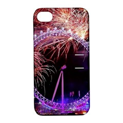 Happy New Year Clock Time Fireworks Pictures Apple Iphone 4/4s Hardshell Case With Stand by Onesevenart