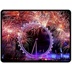 Happy New Year Clock Time Fireworks Pictures Double Sided Fleece Blanket (large)  by Onesevenart