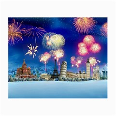 Happy New Year Celebration Of The New Year Landmarks Of The Most Famous Cities Around The World Fire Small Glasses Cloth by Onesevenart