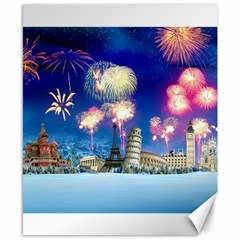 Happy New Year Celebration Of The New Year Landmarks Of The Most Famous Cities Around The World Fire Canvas 8  X 10  by Onesevenart