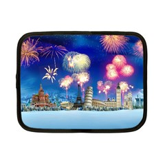 Happy New Year Celebration Of The New Year Landmarks Of The Most Famous Cities Around The World Fire Netbook Case (small)  by Onesevenart