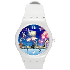 Happy New Year Celebration Of The New Year Landmarks Of The Most Famous Cities Around The World Fire Round Plastic Sport Watch (m) by Onesevenart