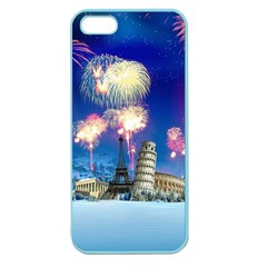 Happy New Year Celebration Of The New Year Landmarks Of The Most Famous Cities Around The World Fire Apple Seamless Iphone 5 Case (color) by Onesevenart