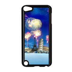 Happy New Year Celebration Of The New Year Landmarks Of The Most Famous Cities Around The World Fire Apple Ipod Touch 5 Case (black) by Onesevenart