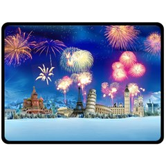 Happy New Year Celebration Of The New Year Landmarks Of The Most Famous Cities Around The World Fire Double Sided Fleece Blanket (large)  by Onesevenart