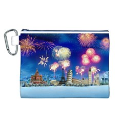 Happy New Year Celebration Of The New Year Landmarks Of The Most Famous Cities Around The World Fire Canvas Cosmetic Bag (l) by Onesevenart