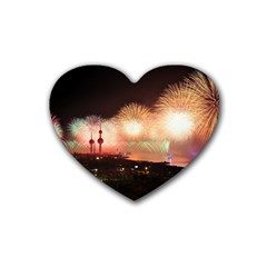 Kuwait Liberation Day National Day Fireworks Rubber Coaster (heart)  by Onesevenart
