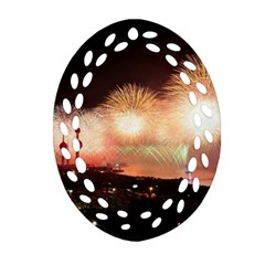 Kuwait Liberation Day National Day Fireworks Oval Filigree Ornament (two Sides) by Onesevenart