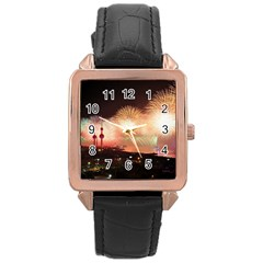 Kuwait Liberation Day National Day Fireworks Rose Gold Leather Watch  by Onesevenart