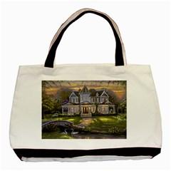 Landscape House River Bridge Swans Art Background Basic Tote Bag by Onesevenart