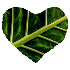 Leaf Dark Green Large 19  Premium Heart Shape Cushions by Onesevenart
