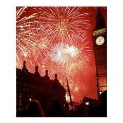 London Celebration New Years Eve Big Ben Clock Fireworks Shower Curtain 60  X 72  (medium)