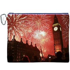 London Celebration New Years Eve Big Ben Clock Fireworks Canvas Cosmetic Bag (xxxl) by Onesevenart