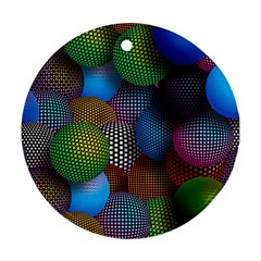 Multicolored Patterned Spheres 3d Round Ornament (two Sides) by Onesevenart
