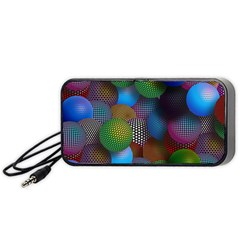 Multicolored Patterned Spheres 3d Portable Speaker (black) by Onesevenart