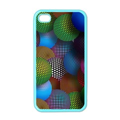 Multicolored Patterned Spheres 3d Apple Iphone 4 Case (color) by Onesevenart