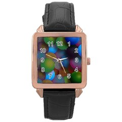 Multicolored Patterned Spheres 3d Rose Gold Leather Watch  by Onesevenart
