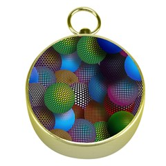 Multicolored Patterned Spheres 3d Gold Compasses by Onesevenart