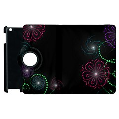 Neon Flowers And Swirls Abstract Apple Ipad 3/4 Flip 360 Case by Onesevenart