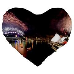 New Year's Evein Sydney Australia Opera House Celebration Fireworks Large 19  Premium Heart Shape Cushions by Onesevenart
