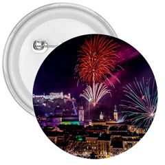 New Year New Year's Eve In Salzburg Austria Holiday Celebration Fireworks 3  Buttons by Onesevenart