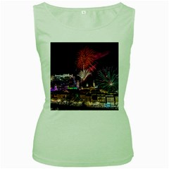 New Year New Year's Eve In Salzburg Austria Holiday Celebration Fireworks Women s Green Tank Top by Onesevenart