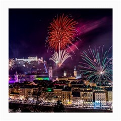 New Year New Year's Eve In Salzburg Austria Holiday Celebration Fireworks Medium Glasses Cloth by Onesevenart