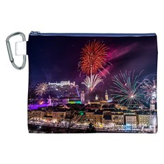New Year New Year's Eve In Salzburg Austria Holiday Celebration Fireworks Canvas Cosmetic Bag (xxl) by Onesevenart