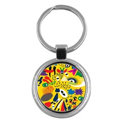 Yellow Eye Animals Cat Key Chains (round)  by AnjaniArt