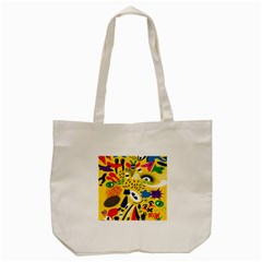 Yellow Eye Animals Cat Tote Bag (cream) by AnjaniArt