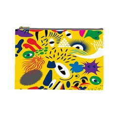 Yellow Eye Animals Cat Cosmetic Bag (large)  by AnjaniArt