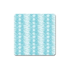 Snake Skin Blue Chevron Wave Square Magnet by AnjaniArt