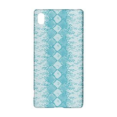 Snake Skin Blue Chevron Wave Sony Xperia Z3+ by AnjaniArt
