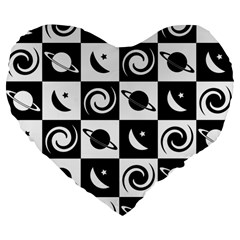 Space Month Saturnus Planet Star Hole Black White Large 19  Premium Flano Heart Shape Cushions by AnjaniArt