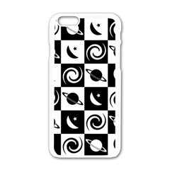 Space Month Saturnus Planet Star Hole Black White Apple Iphone 6/6s White Enamel Case by AnjaniArt