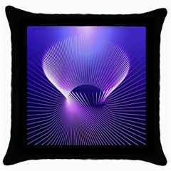 Space Galaxy Purple Blue Line Throw Pillow Case (black) by AnjaniArt